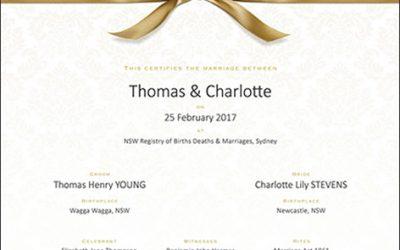 Commemorative Marriage Certificates
